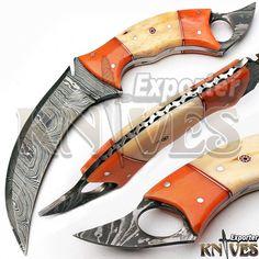 Andy Alm New Custom made USA Damascus Steel Karambit Knife, Bone Handle KE-372 #AndyAlmKnivesKnivesExporter