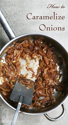 How to Caramelize Onions ~ How to slowly caramelize onions to bring out deep, rich, sweet flavor as the natural sugars in the onions caramelize. Video included. ~ SimplyRecipes.com