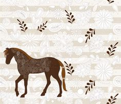 Fancy Big Horse fabric by liluna on Spoonflower - custom fabric