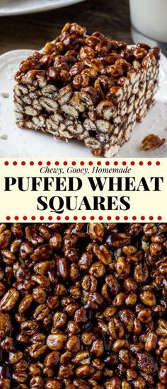 Puffed Wheat Squares - Chewy Candy - Ideas of Chewy Candy - Puffed wheat squares are a classic easy treat that always reminds me of childhood. Theyre chewy gooey full of chocolate and you can whip up a batch of these no bake treats in no time. Puffed Wheat Cake, Puffed Wheat Squares, Köstliche Desserts, Delicious Desserts, Dessert Recipes, Cake Recipes, No Bake Recipes, Cereal Treats, No Bake Treats