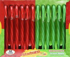 The great Starburst debate rages on in candy cane form: green vs. red? Get them at amazon.com - Delish.com