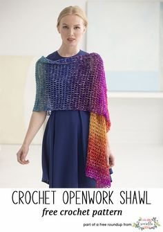Crochet this easy openwork lace gradient ombre shawl from my stylish crochet shawls free pattern roundup!