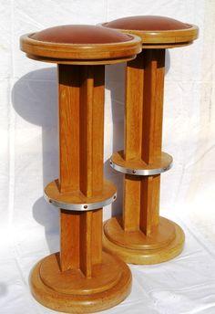 Great looking Deco bar stools - tabouret de bar en bois art deco 1930 france