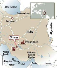Mapa de Shiraz, en Irán.