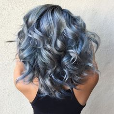 Are you looking for ombre hair color for grey silver? See our collection full of ombre hair color for grey silver and get inspired! Hair Color Blue, Cool Hair Color, Hair Colors, Blue Gray Hair, Grey Blonde, Silver Blue Hair, Gold Hair, Purple Grey, Blue Steel Hair