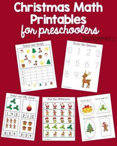 Christmas Math Worksheets, Preschool Christmas Activities, Preschool Curriculum, Preschool Worksheets, Preschool Learning, Math Activities, Homeschooling, Christmas Themes, Christmas Printables