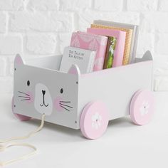 Book Cart Miss Cat - Storage Cart - Ideas of Storage Cart - Book Storage Cart Miss Cat Storage Cart, Book Storage, Kids Storage, Craft Storage, Storage Ideas, Easy Storage, Deco Baby Shower, Baby Furniture, Furniture Nyc