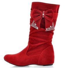 Casual Bowknot Flat-boot Flat Boots from fashionmia.com  $28.00