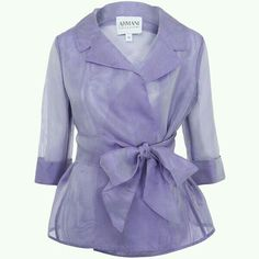 Lilac organza silk tie jacket from the Armani Collezioni collection. Lightweight and feminine, this jacket is a beautifully versatile spring cover-up. Silk Organza, Chiffon, Posh Clothing, Silk Jacket, Blazer Jacket, Purple Jacket, Coat Dress, Mantel, Fashion Dresses