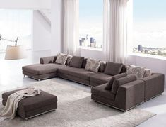 Beau Tosh Furniture Contemporary Modern Brown Fabric Sectional Sofa   Sectional  Sofas At Hayneedle