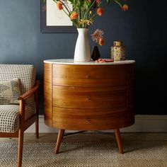 Our Penelope 3-Drawer Chest's slim, tapered legs and refined profile are inspired by mid-century design. Its marble top is looks great styled with a table lamp, a jewellery tree and a few frames, while three rounded drawers provide plenty of storage.