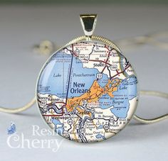 New Orleans map charm. Love. (Etsy!)