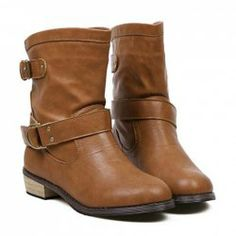 Vintage Style Women's Boots With Buckle and Wood Heel Design