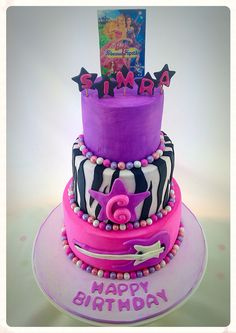 3 tier Barbie, princess and the popstar 6th birthday cake with guitar