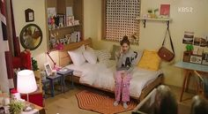 Korean simple messy bedroom for girl who lives alone or you can decorate it like this at your parents' house or dorm. This is from K-drama 'Prime Minister and I' and I liked it how they designed this room, very lovely just like I wanted. But sadly, they didn't show it too much from the drama tho.