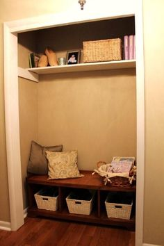 dearly loved mist: Entryway Closet - Before and After Closet Nook, Corner Closet, Entry Closet, Front Closet, Closet Mudroom, Closet Storage, Converted Closet, Small Closet Space, Closet Remodel