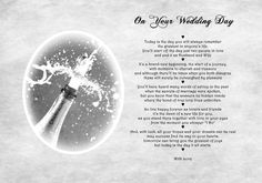 A4 Poem To The Bride And Groom On Your Wedding Day Unique Gift