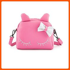 Pinky Family Cute Cat Ear Kids Handbags Candy Color Crossbody Bags PU Leather Shoulder Bags (pink) - Fun stuff and gift ideas (*Amazon Partner-Link)