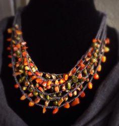 Summer Twilight,Crochet Linen Necklace,Bohemian Jewelry,Earthy Colors, Gemstone Choker