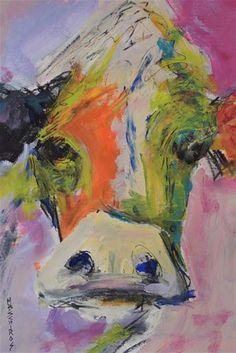 "Daily+Paintworks+-+""Calico+Cow""+-+Original+Fine+Art+for+Sale+-+©+Mary+Schiros"