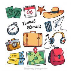 Colección de accesorios de viaje dibujados a mano dibujos ใ น ป 2019 альбом Bullet Journal Art, Bullet Journal Ideas Pages, Bullet Journal Inspiration, Scrapbooking Stickers, Scrapbook Albums, Journal Stickers, Planner Stickers, Printable Stickers, Cute Stickers