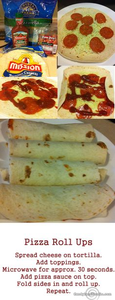 """Pizza Roll Ups. quick for lunch, easy supper, even appetizers (use small tortillas, or cut). on 10"""" tortillas, made a great supper. I heated with just the cheese before adding ham, so it wouldn't pop so much in the microwave. ( heated it again with the ham) then added pizza sauce and rolled etc as directed"""