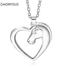10PCS/Lot Hot Sale High Quality Heart Sharp fashion horse head love necklace pendant for women Gift Wholesale #Affiliate