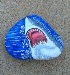 Shark Rock Painting Rock Art Shark Painting 3D by MelidasArt