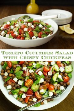 This Tomato Cucumber Salad with Crispy Chickpeas is like summer in a bowl. With lots of fresh herbs, it's loaded with vibrant flavor. The easy, pan-fried chickpeas add a healthy and delicious touch! #healthysalad #chickpeas #tomatosalad Pasta Side Dishes, Pasta Sides, Side Dishes For Bbq, Potato Side Dishes, Clean Recipes, Lunch Recipes, Beef Recipes, Salad Recipes, Healthy Recipes