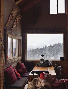 Winter Cabin, Cozy Cabin, Cozy Winter, Winter Porch, Cabins In The Woods, House In The Woods, Cabin Homes, Log Homes, Home Design