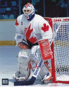 """Team CANADA - Grant Fuhr """"Every child, boy and girl, should get to see the NHL. Montreal Canadiens, Hockey Goalie, Ice Hockey, Patrick Roy, Canada Cup, Olympic Hockey, Hockey Boards, Stars Hockey, Goalie Mask"""