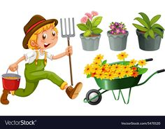 Gardening vector image on VectorStock Applique Tutorial, Community Helpers, Spring Activities, Coloring For Kids, Pre School, Adobe Illustrator, Garden Tools, Vector Free, Planter Pots