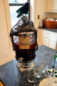 Great way to display your Witches Brew Halloween apothecary jar with potion and crow decoration