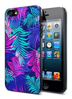 Pink Neon Palm Leaves iPhone Case