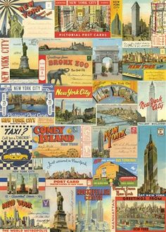 """Cavallini New York City Postcards Wrap 20"""" x 28"""" - Printed on Cavallini's signature Italian paper (archival) - Perfect for wrapping, as posters, framing and other creative endeavors - Best selling and"""