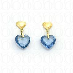 Brinco Coração de Pedra Aquamarine