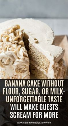 Today, we reveal the recipe of a speckled banana cake that has the fluffiest coconut frosting you have ever tried! However, despite its amazing taste, this cake is a healthy dessert that you and … Sugar Free Desserts, Gluten Free Desserts, Healthy Desserts, Dessert Recipes, Healthy Recipes, Gluten Free Sugar Free Cake Recipe, Sugar Free Foods, Sugar Free Cakes, Gluten Free Coconut Cake