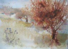 Le verger abandonné - Painting, 65x80 cm ©2005 by Reine-Marie PiNCHON -