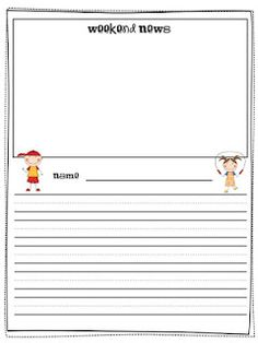 "FREE primary writing template printable for ""Weekend News."" Students write about their weekend every Monday - instant writing portfolio for the whole year! 1st Grade Writing, First Grade Reading, Teaching Writing, Writing Skills, Writing Activities, Writing Prompts, Teaching Ideas, Teaching Procedures, Teaching Resources"