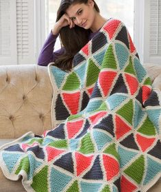 Colorful Triangle Throw