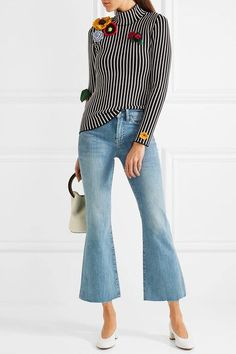 M.i.h Jeans - Lou Cropped Embroidered High-rise Flared Jeans - Mid denim - 30