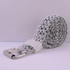 pop tab belt white
