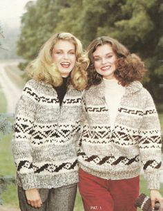 White Buffalo His or Hers Pullover or Cardigan Pattern #1    Small - 32 to 34 (81 cm to 86 cm)  Medium - 36 to 38 (91 cm to 97 cm)  Large - 40 to 42 (102 cm to 107 cm)  Extra Large - 44 to 46 (112 cm to 117 cm)    Needles:  Recommended no.1 (7.5mm - 11 US) for the body and No. 4 (6mm - 10 US) for the ribbing.    Sizes based on the following tension:  13 stitches to 5 (12.7cm)  15 rows to 4 (10.2 cm)    This is a PDF reproduction of a vintage knitting pattern that has been digitally enhanced…