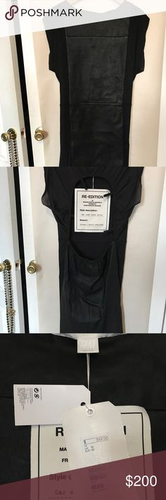 NWT Martin Margiela for H&M car seat leather dress Black leather with stretchy panels. Large back cut-out. Show stopping gorgeous. Think Helena Christiansen. Mint, never worn, NWT. Should be at the center of an epic evening - or 50. Maison Martin Margiela for H&M Dresses Backless
