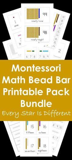 Montessori Math Bead Bar Printable Pack Bundle in Action