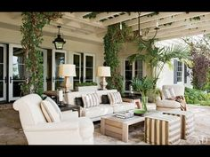 Living Room in your back yard. I love the pergola, instead of a covered roof.