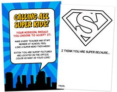 INSTANT DOWNLOAD - I Think You Are Super Printables - Superhero Staff Appreciation Week via Etsy