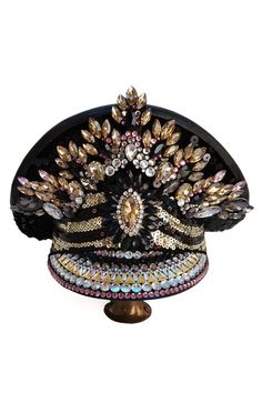 Luxury Item - Royal CollectionFestival Captain Hat - Rhinestone sawrowski and Paillettes decorated. Festival Costumes, Festival Hats, Rave Accessories, Army Hat, Steampunk Hat, Boho Hat, Costume Hats, Rave Outfits, Burning Man
