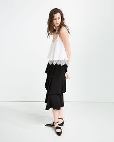 Image 1 of LACE TRIM DOUBLE LAYER TOP from Zara