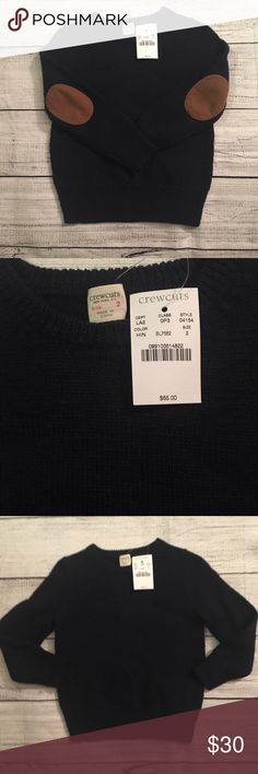 NWT Crewcuts Navy sweater with tan suede on elbows. J. Crew Shirts & Tops Sweaters